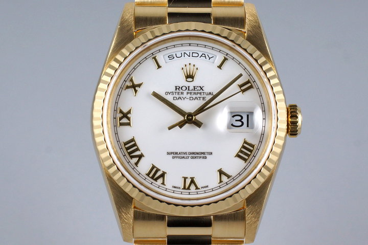 1995 Rolex YG Day-Date 18238 White Roman Dial photo