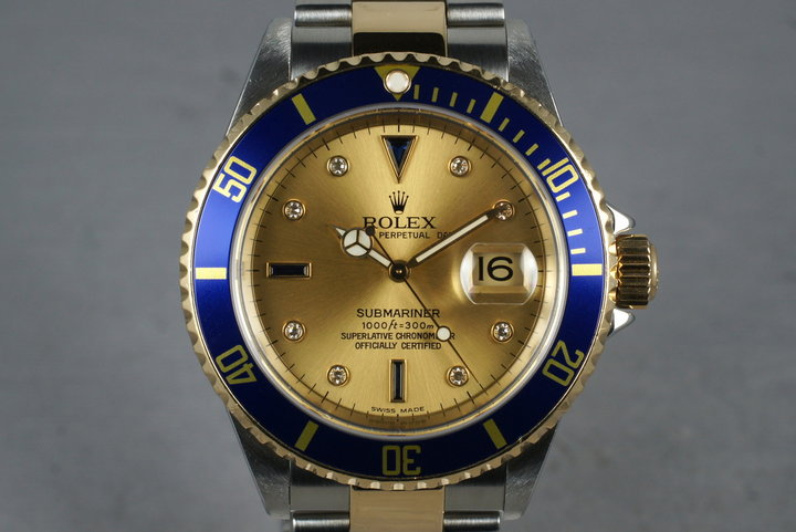 2002 Rolex 18K/SS Submariner 16613 Serti Dial with Service Papers photo