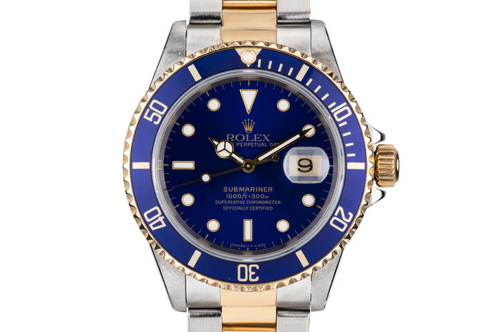 1998 Rolex Two Tone Submariner 16613 Blue Dial with Box and Papers photo