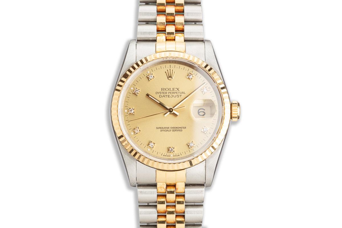 1990 Rolex Two-Tone DateJust 16233 Diamond Marker Dial photo, #0