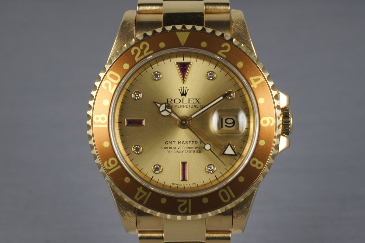 1991 Rolex YG GMT II 16718 with Champagne Serti Dial photo, #0