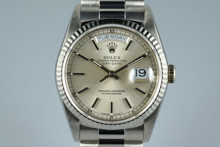 1990 Rolex WG Day-Date Ref: 18239 with White Roman Dial photo
