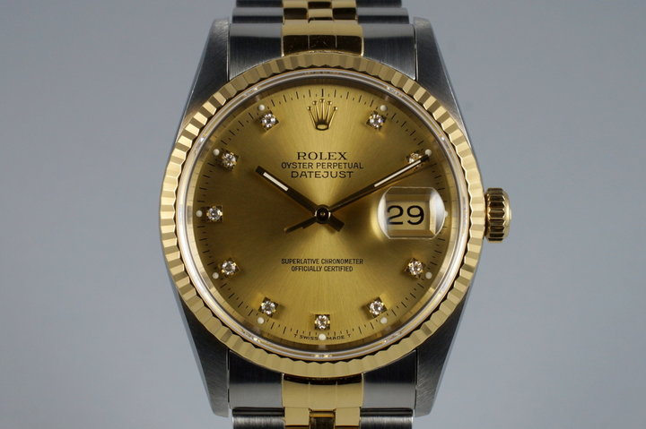 1993 Rolex Two Tone DateJust 16233 Factory Diamond Champagne Dial with Box and Papers photo