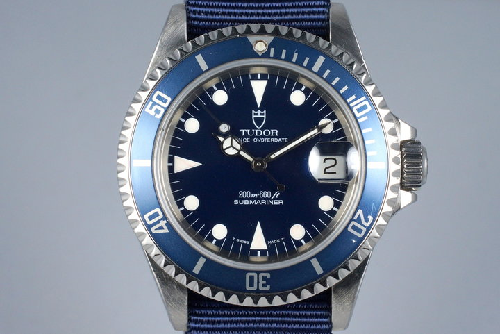 1995 Tudor Blue Submariner 79190 with Box and Papers photo