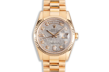 2001 Rolex 18K Rose Gold Day-Date 118235 Diamond Meteorite Dial with Box & Service Papers photo