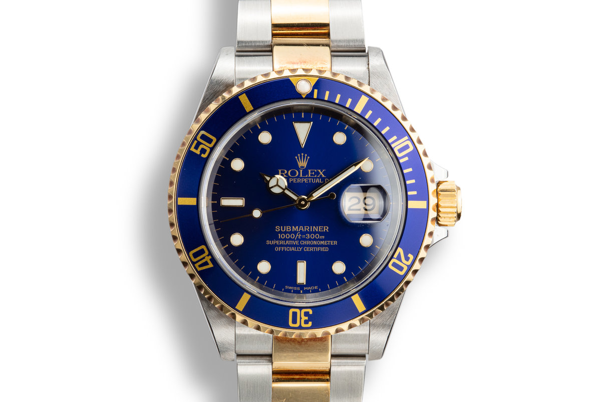 2002 Rolex Two-Tone Submariner 16613 Blue Dial with Box and Papers. photo, #0