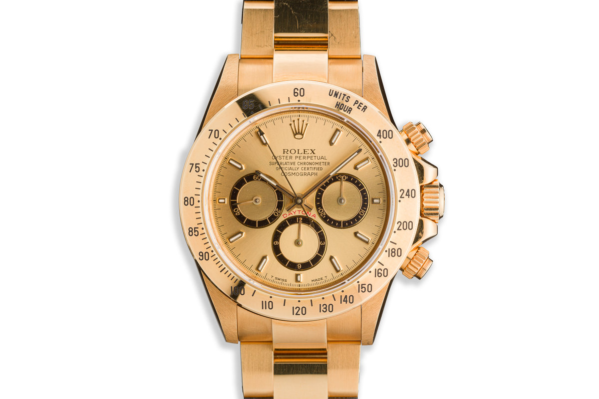 1993 Rolex 18K YG Zenith Daytona 16528 Champagne Inverted 6 Dial with Papers photo, #0