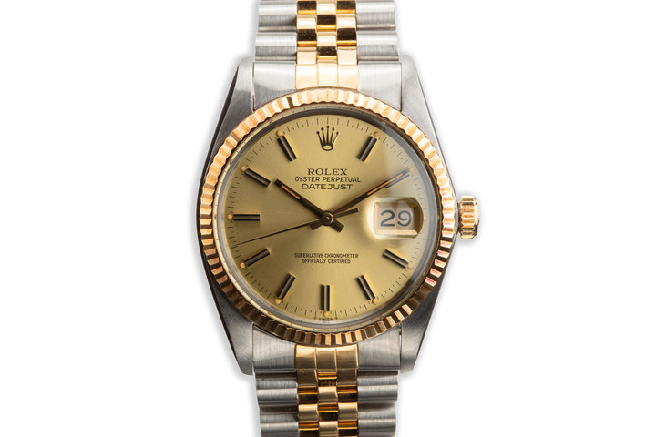 1982 Rolex Two-Tone DateJust 16013 Champagne Dial with Box and Papers photo