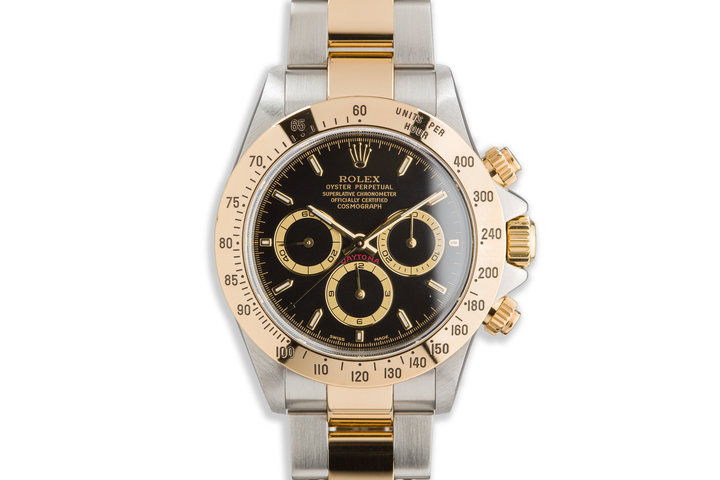 1999 Rolex Zenith 18K Two Tone Daytona 16523 Black with Box and Papers photo