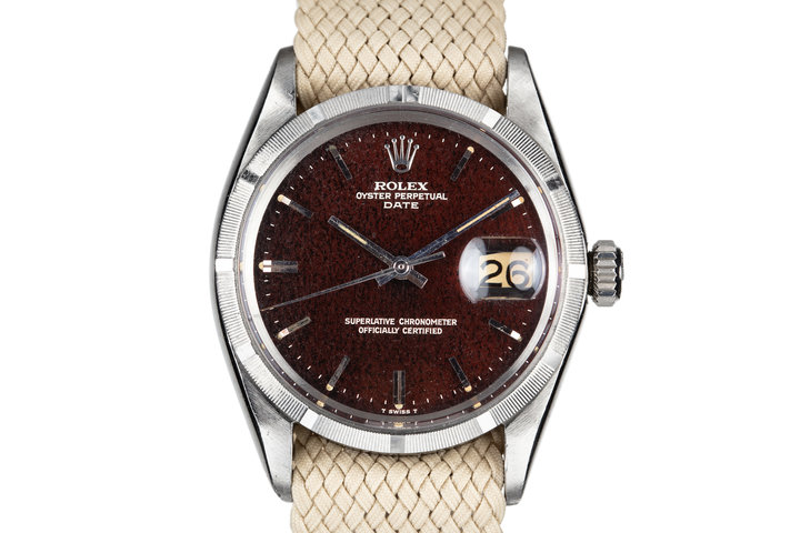 1967 Rolex Date 1500 Gilt Dial with Deep Ruby Tropical Patina photo