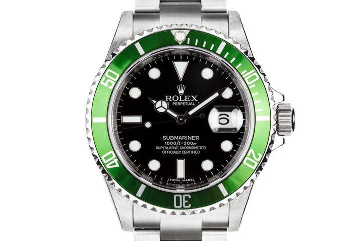 Mint with Stickers 2007 Rolex Anniversary Green Submariner 16610V with Box and Papers photo