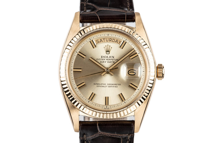 "1968 Rolex Day-Date 1803 with No Lume Gold ""Wide Boy"" Dial photo"
