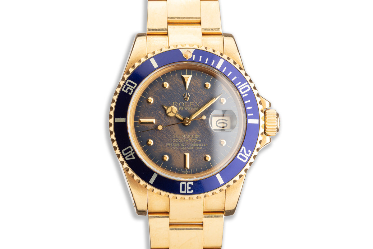 """1981 Unpolished Rolex 18K Gold Submariner 16808 """"Tropical"""" Blue Nipple Dial photo, #0"""