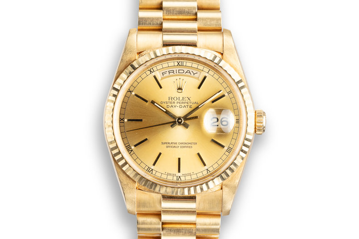1993 Rolex 18K YG Day-Date 18238 Champagne Dial photo