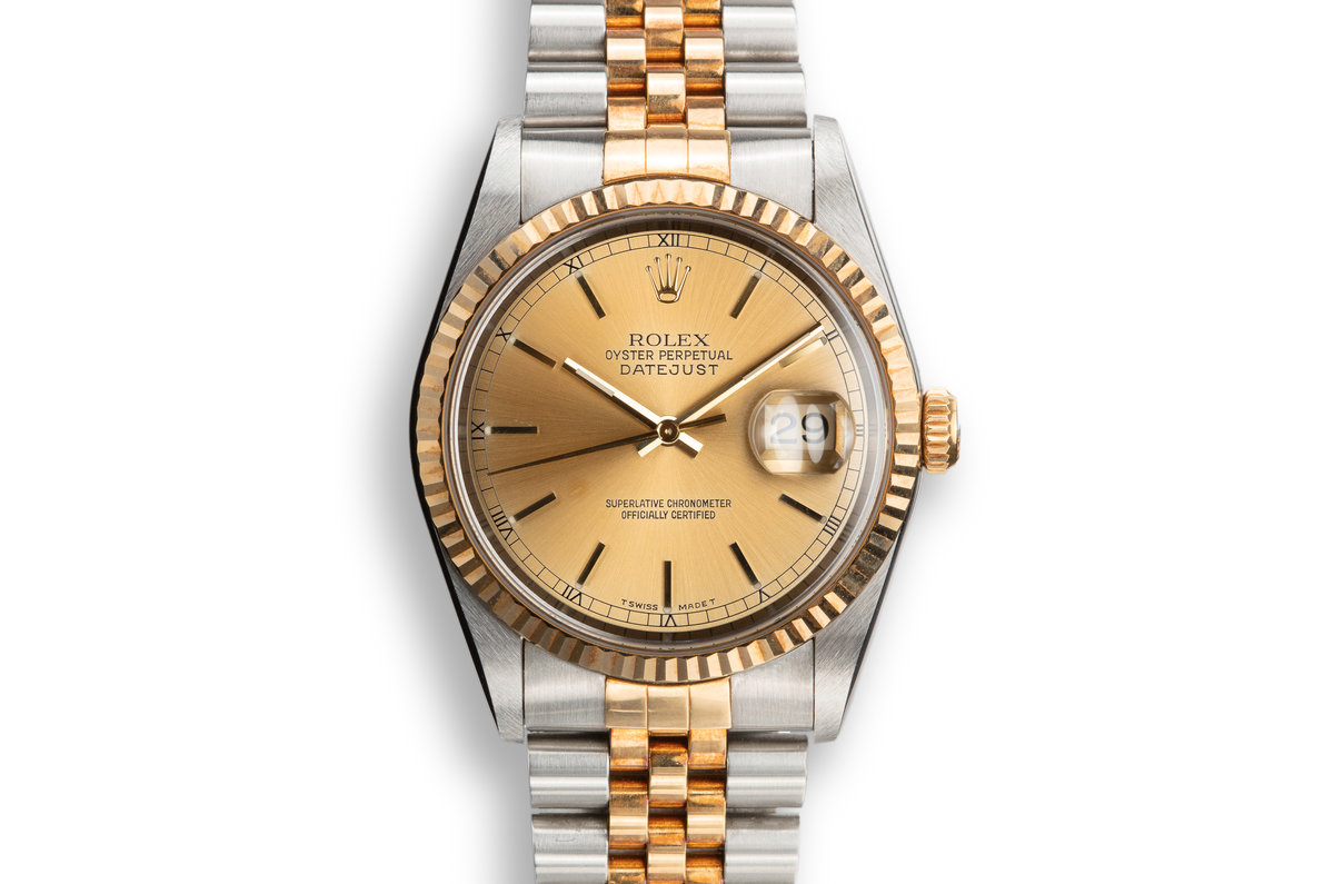 1995 Rolex Two-Tone DateJust 16233 Champagne Dial with Box and Papers photo, #0
