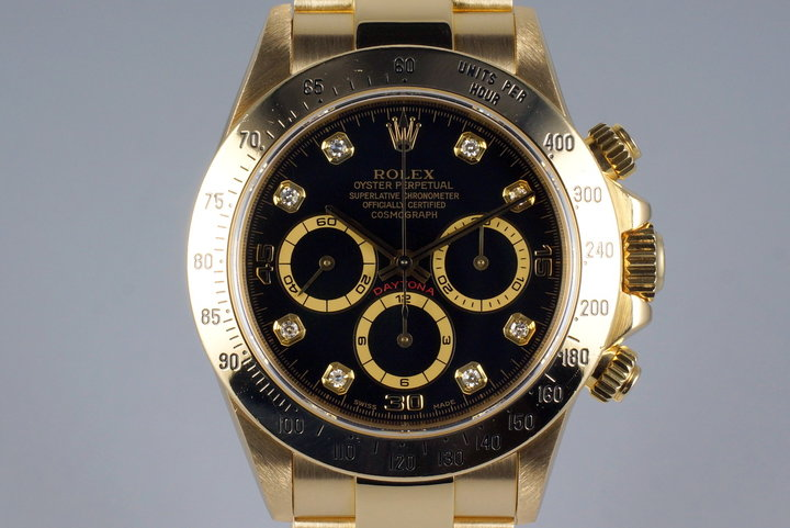 1995 Rolex YG Zenith Daytona 16528 Factory Black Diamond Dial photo