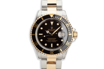 1991 Rolex 18K & St Submariner 16613 Black Dial photo