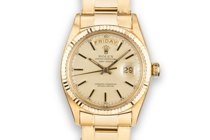 1960 Rolex 18K YG Day-Date 1803 with Matte Champagne Dial and Oyster Bracelet photo