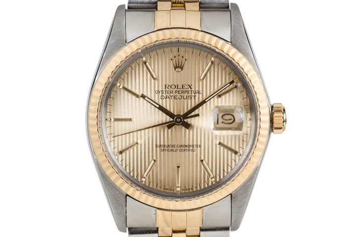 1985 Rolex DateJust 16013 Gold Tapestry Dial with Box and Papers photo