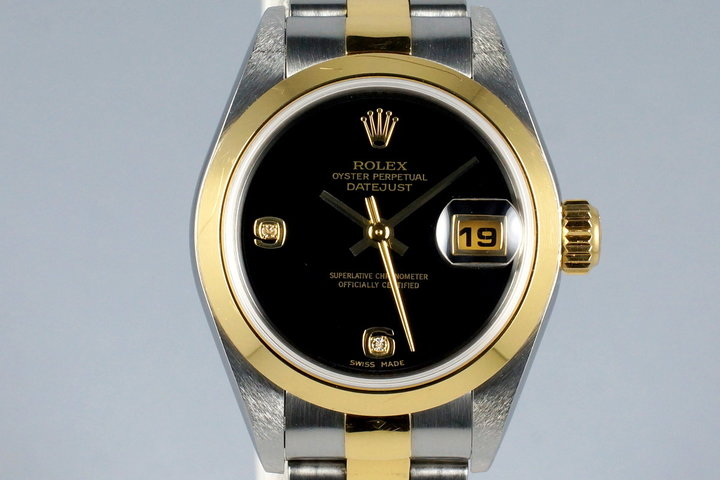 2002 Rolex Ladies Two Tone DateJust 79163 Onyx Dial with Box and Papers photo