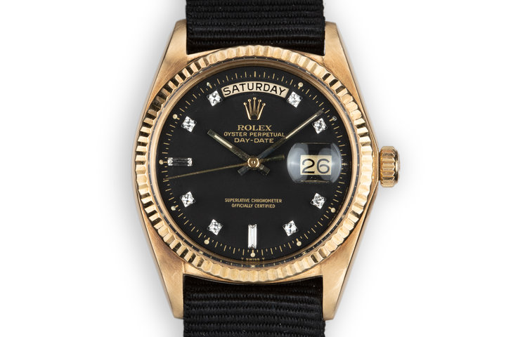 1972 Rolex 18K YG Day-Date 1803 with Matte Black Diamond Dial photo