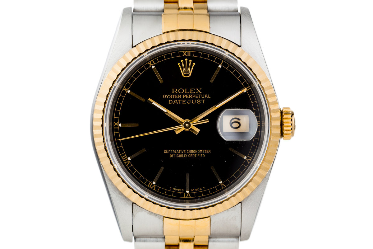 1995 Rolex Two Tone DateJust 16233 Glossy Black Dial photo, #0
