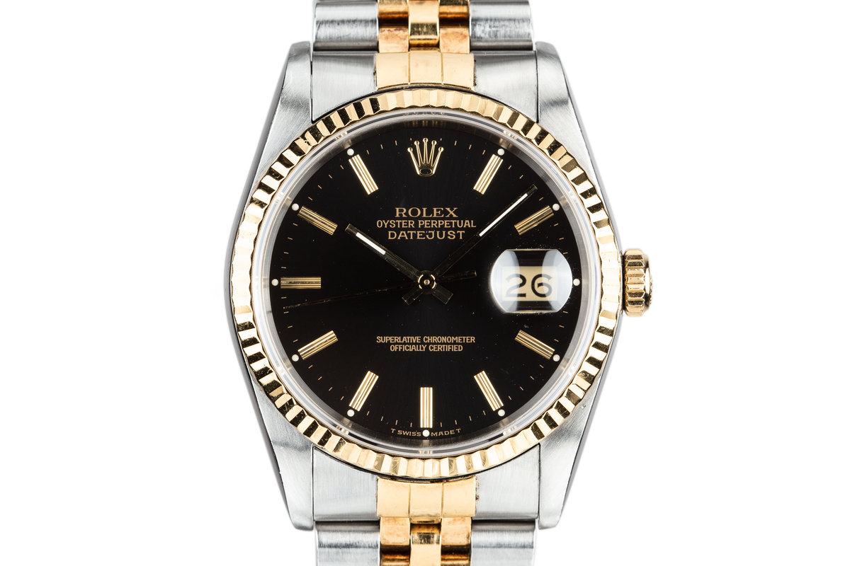 1988 Rolex Two-Tone DateJust 16233 Black Dial with Box and Papers photo, #0