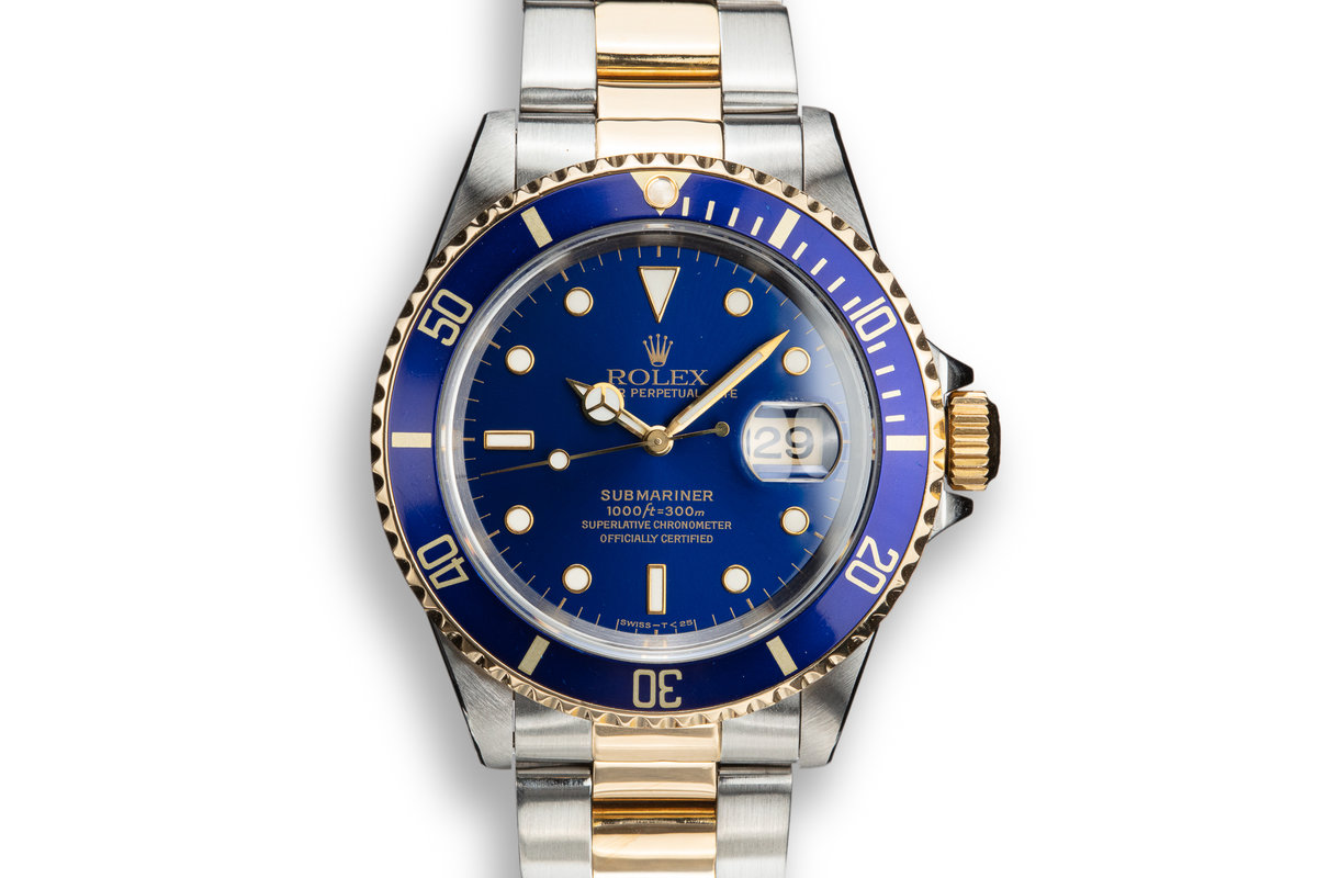 1993 Rolex Two-Tone Submariner 16613 Blue Dial photo, #0