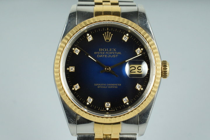 1988 Rolex Two Tone DateJust 16233 Factory Blue Vignette Diamond Dial with Box and Papers photo