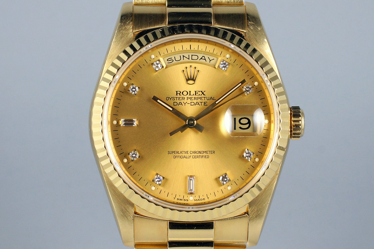 1991 Rolex YG Day-Date 18238 Factory Champagne Diamond Dial photo, #0