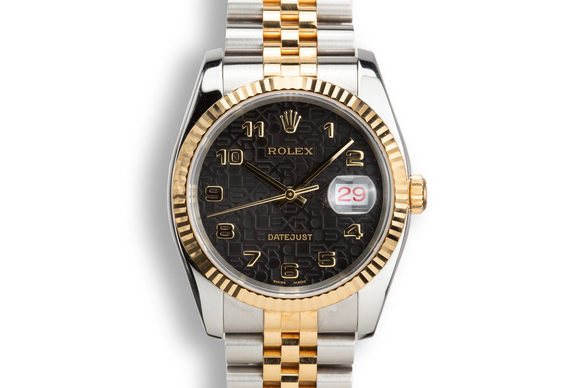 2003 Rolex Two-Tone DateJust 116223 Black Jubilee Arabic Dial with Box and Papers photo, #0