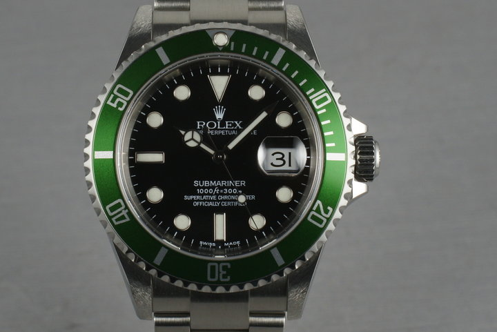 Rolex Green Submariner  16610 LV Mark 1 dial and bezel complete set photo