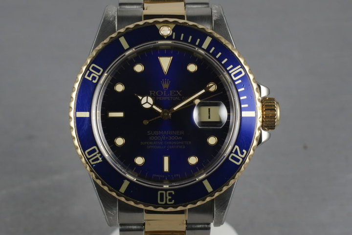 1988 Rolex Submariner 18K/SS Blue Dial 16803 photo