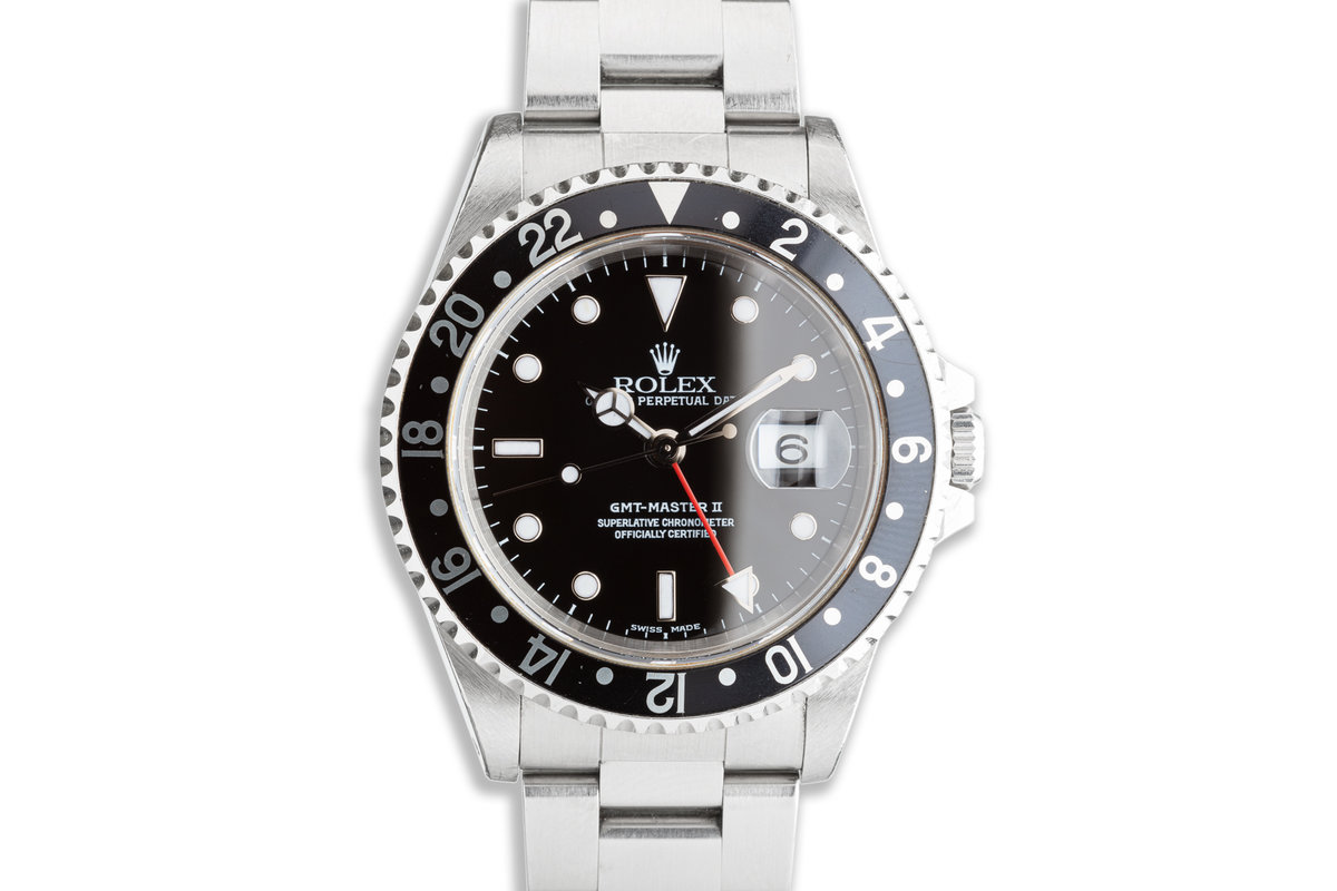 1999 Rolex GMT-Master II 16710 Black Bezel with Box & Papers photo, #0