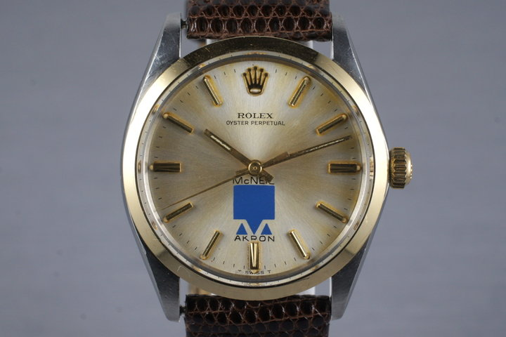 1966 Rolex Two Tone Oyster Perpetual 1002 with McNeil Akron Logo Dial photo