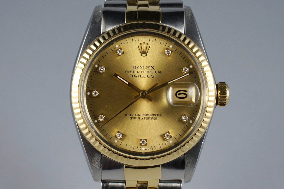 1981 Rolex Two Tone DateJust 16013 Factory Champagne Diamond Dial with Box and Papers photo, #0