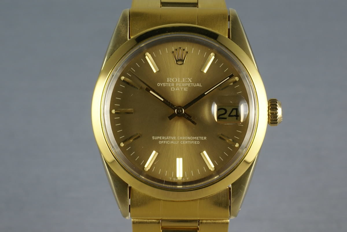 Rolex Date  1550 Gold cap ... box and papers photo, #0