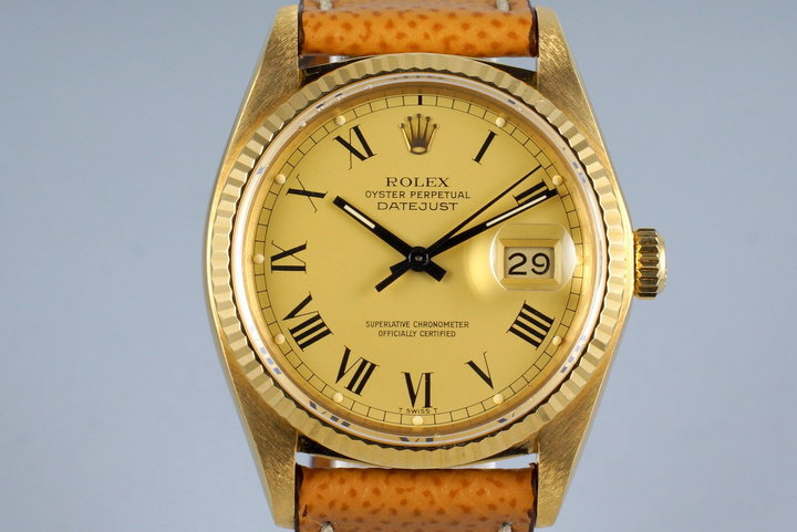 1983 Rolex YG Datejust 16018 with Champagne Roman Dial photo