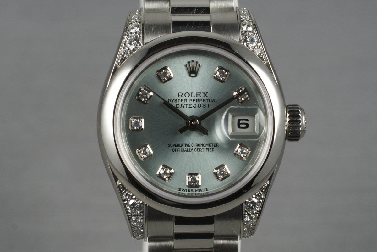 2001 Ladies Platinum Rolex Datejust 179296 with Factory Diamond Dial photo, #0