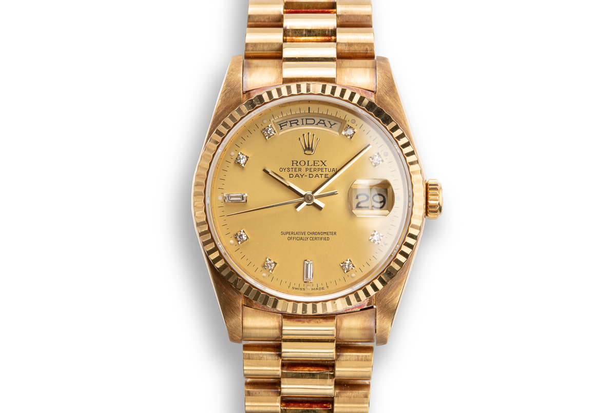 1989 Rolex 18K YG Day-Date 18238 with Champagne Diamond Dial photo, #0