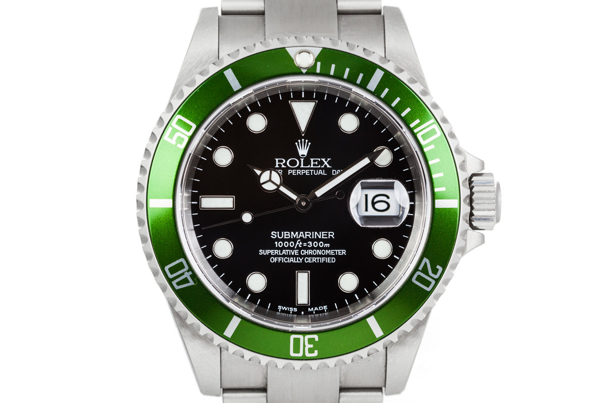 """2002 Rolex Green Submariner """"Y Serial"""" 16610LV with Box and Papers photo, #0"""