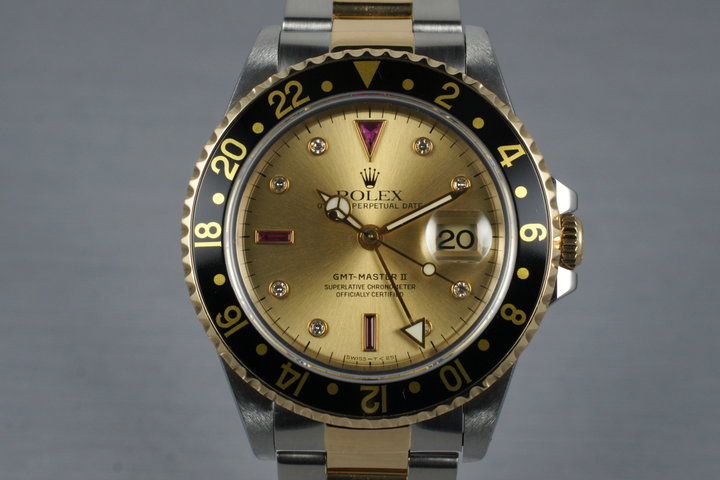 1995 Rolex Two Tone GMT II 16713 with Champagne Serti Dial photo