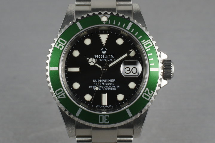 Rolex Green Submariner 16610 LV with Box and Papers Z serial photo