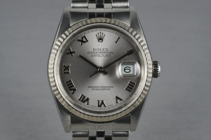 2003 Rolex Datejust 16234 Silver Roman Chapter Ring Dial With RSC Papers photo