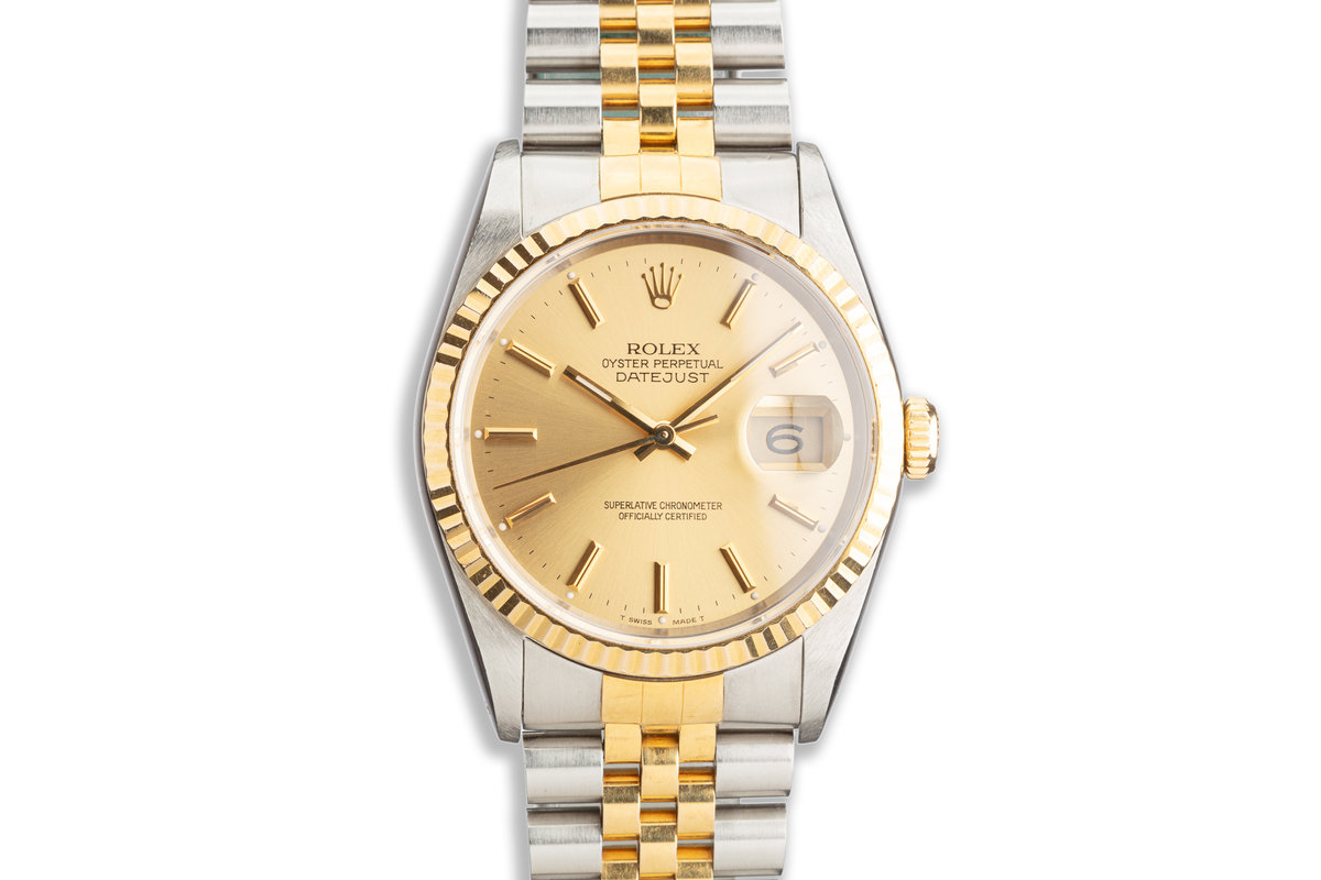 1991 Rolex Two-Tone DateJust 16233 Gold Dial photo, #0