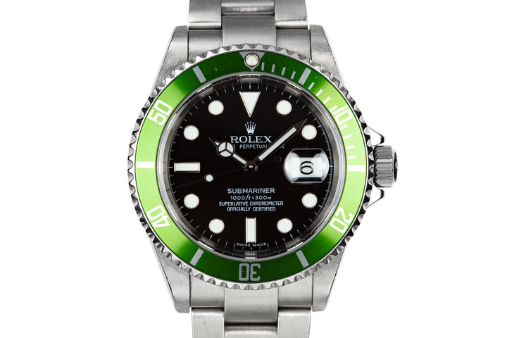 2006 Rolex Anniversary Green Submariner 16610LV with Box and Lime Green Bezel photo