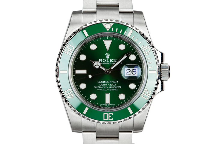 "Mint 2018 Rolex Green Submariner 116610LV ""Hulk"" with Box and Papers photo"