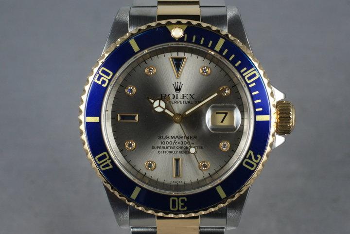 1999 Rolex 18K/SS Submariner 16613 Serti Dial photo