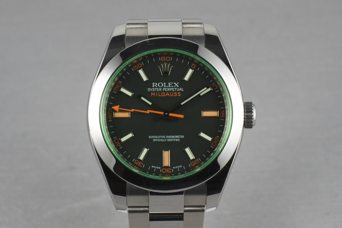Rolex Milgauss Green V Serial 116400 GV with Box and Papers photo, #0