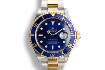 2002 Rolex Two-Tone Submariner 16613 Blue Dial with Box and Papers. photo